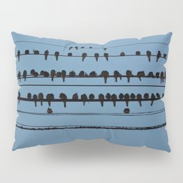 birds on a wire feeling blue Pillow Sham