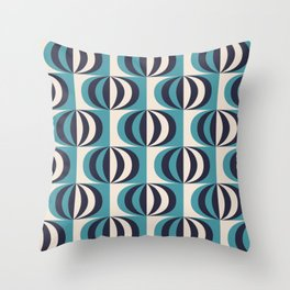 Mid century black & white striped ovals blue pattern on products Throw Pillow