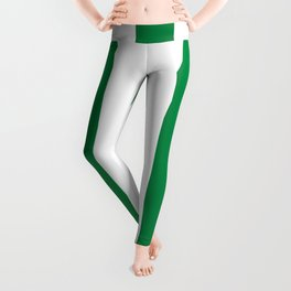 Philippine green -  solid color - white vertical lines pattern Leggings