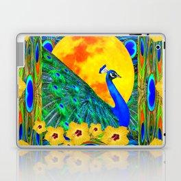 YELLOW HIBISCUS FULL GOLDEN MOON  BLUE PEACOCKS Laptop & iPad Skin