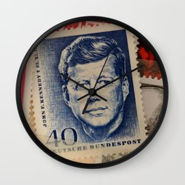 Vintage Stamps (JFK) Wall Clock