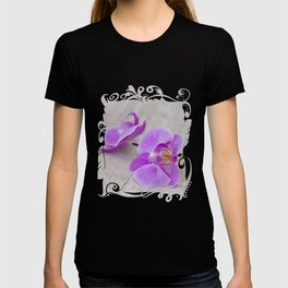 pink orchid flower close up water drops T-shirt