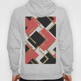 Chic Coral Pink Black and Gold Square Geometric Hoody