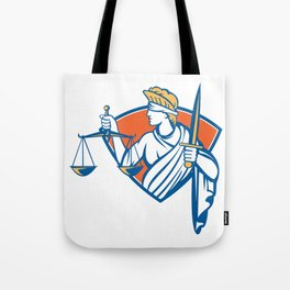 Lady Blindfolded Holding Scales Justice Sword Tote Bag