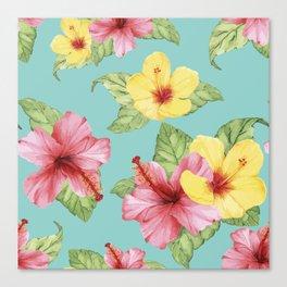 Tropical Hawaiian Hibiscus Floral Print Canvas Print