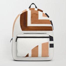 Raw Umber Circle Round Framed Mid Century Modern Aztec Geometric Pattern Maze Backpack
