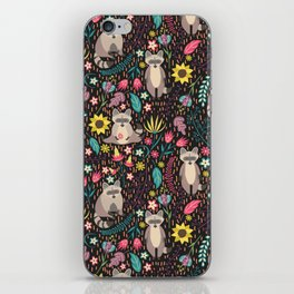Raccoons bright pattern iPhone Skin
