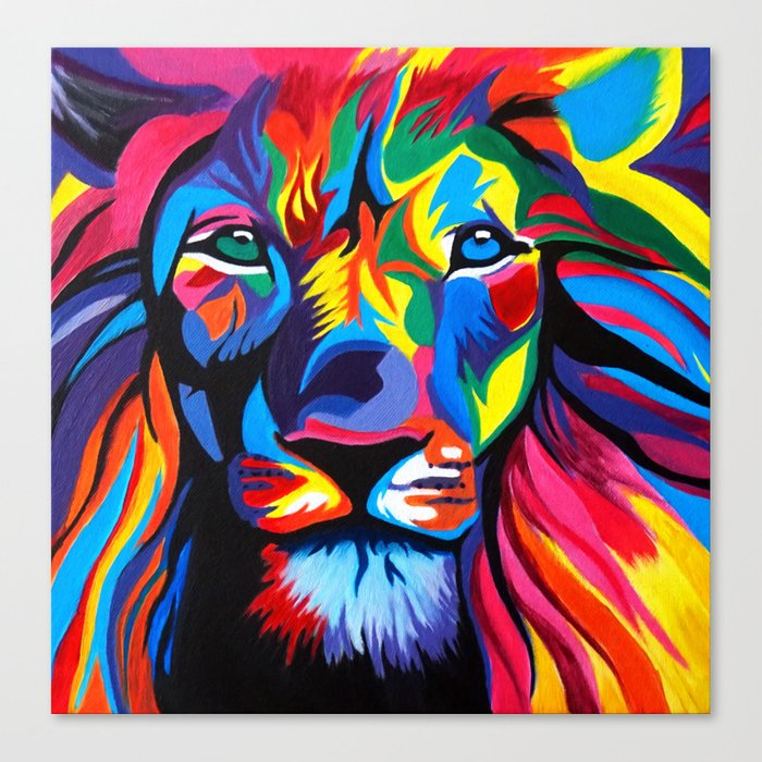 colorful lion painting canvas print by thecolorterrace society6