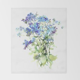 Forget-me-not watercolor aquarelle flowers Throw Blanket