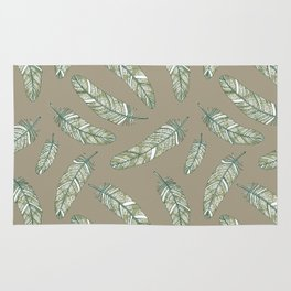 Linen grey flowery feathers Rug