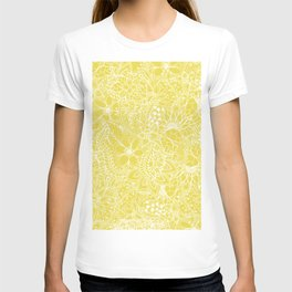 Modern trendy white floral lace hand drawn pattern on meadowlark yellow T-shirt