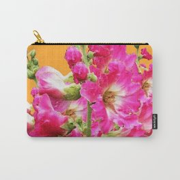 Fuchsia Pink Holly Hocks Pattern Orange Color Floral Art Carry-All Pouch