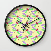 bugs Wall Clocks featuring Bugs by Ophelia Mercedes