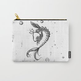 King Fish - Black and White Underwater Fish Bones King Illustration Carry-All Pouch