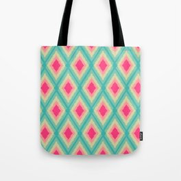 Geometric Ikat Pink Red Green Tribal Girly Pattern Tote Bag