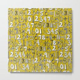 math doodle yellow Metal Print