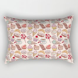 Hand drawn confectionery croissant Cupcake candy ice cream cake donut and coffee Rectangular Pillow