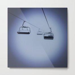 Rope Lift in Fog Metal Print