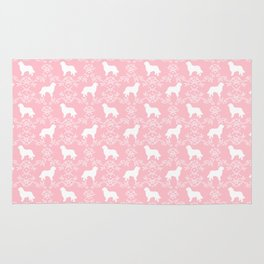 Bernese Mountain Dog florals dog pattern minimal cute gifts for dog lover silhouette pink and white Rug