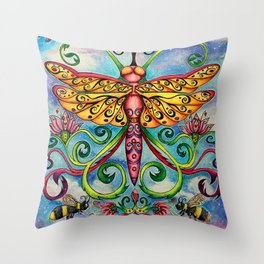 Summer of the Dragonfly Throw Pillow