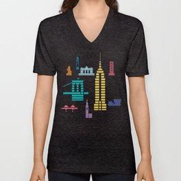 New York Skyline Empire State Poster Black Unisex V-Neck