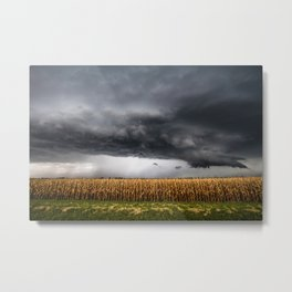 Corn Field - Storm Over Withered Crop in Southern Kansas Metal Print