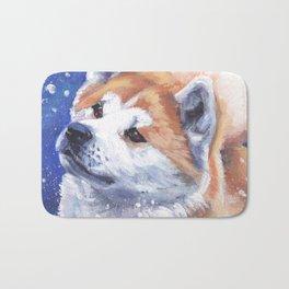 Akita inu Fine Art Dog Painting by L.A.Shepard Bath Mat