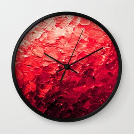 MERMAID SCALES 4 Red Vibrant Ocean Waves Splash Crimson Strawberry Summer Ombre Abstract Painting Wall Clock