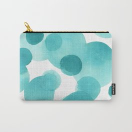Aqua Bubbles: Abstract turquoise watercolor painting Carry-All Pouch