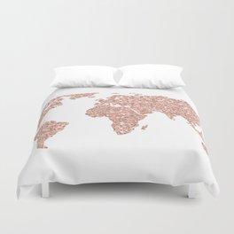 Rose Gold Glitter World Map Duvet Cover