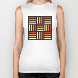 Geometric Pattern #166 (red yellow stripes) Biker Tank