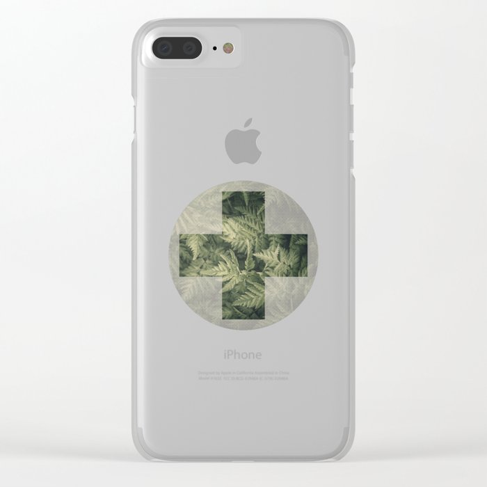SHADED GREEN FERN Clear iPhone Case