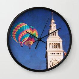 Embarcadero Clock Tower and Hot air Balloons Wall Clock