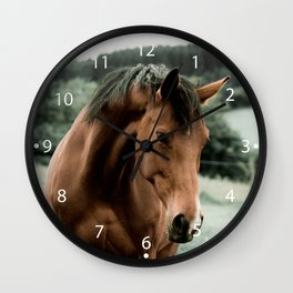 vintage horse animal painting art Wall Clock
