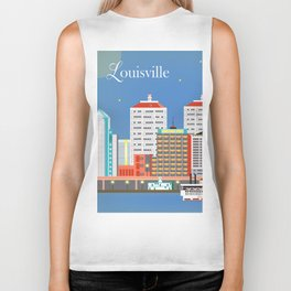 Louisville, Kentucky - Skyline Illustration by Loose Petals Biker Tank