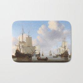 Vintage Ship Oil Painting Bath Mat