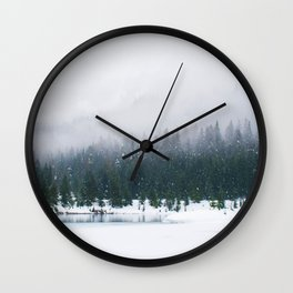 Evergreen Winter Forest (Color) Wall Clock