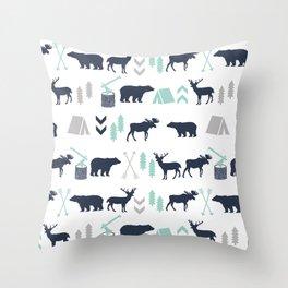 Camper pattern minimal nursery basic grey navy mint white camping cabin chalet decor Throw Pillow