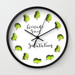 Avocado Sun Salutation Wall Clock
