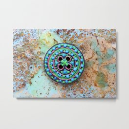 Button for happiness Metal Print