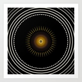 Modern Circular Abstract with Gold Mandala Art Print