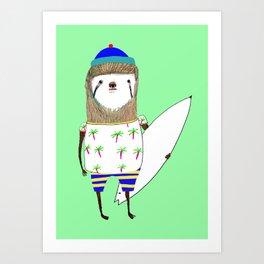 Sloth Surfer Art Print