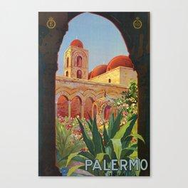 vintage 1920s Palermo Sicily Italian travel ad Canvas Print