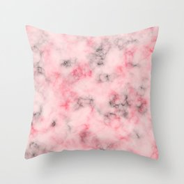 Pink and gray marble Throw Pillow