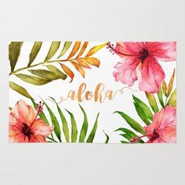 Aloha Watercolor Tropical Hawaiian leaves and flowers Rug