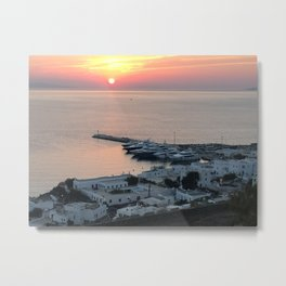 Sunset, Myconos Island, Greece Metal Print