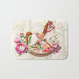 Vintage Collage and Rocking Horse Bath Mat