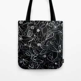 White ink, black card board. Graphic art, ink spring flowers Tote Bag