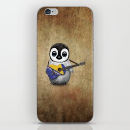 Baby Penguin Playing Bosnian Flag Acoustic Guitar iPhone Skin