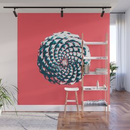 pine cone pattern in coral, aqua and indigo Wall Mural